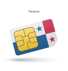Panama mobile phone sim card with flag vector