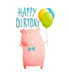 Pig Greeting Happy Birthday Card for Children vector