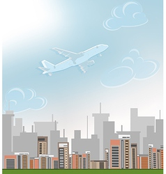 Plane over city vector