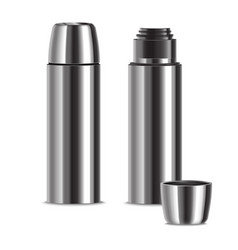 realistic 3d detailed shiny metal thermos set vector image