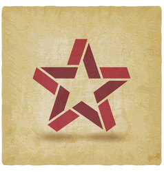 red star symbol vintage background vector image