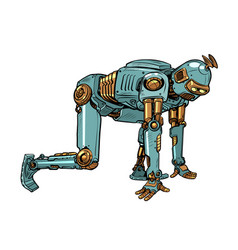 Retro steampunk robot at starting position vector