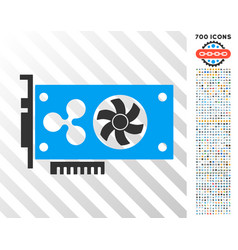 Ripple video gpu card flat icon with bonus vector