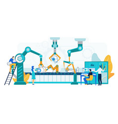 Robot production machinery workshop vector