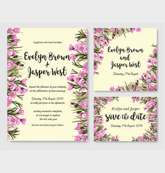 Rustic wedding set with pink wax flowers vector