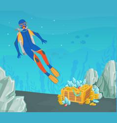 scuba diver found open treasure chest gold at vector image