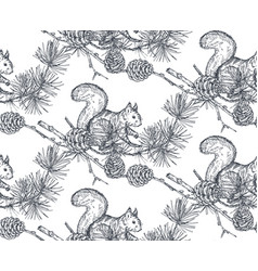 Seamless pattern with hand drawn forest vector