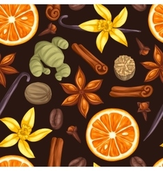 Seamless pattern with various spices vector