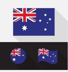 Set australia flag flat design vector