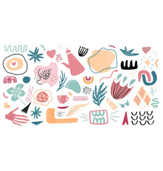 set hand drawn shapes and doodle objects vector image