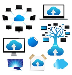 Set Reminder With Cloud Computing Icon vector image