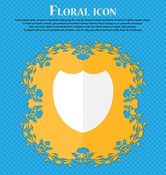 Shield sign icon Protection symbol Floral flat vector image