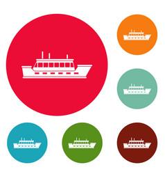 ship trip icons circle set vector image