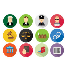 simple flat law icon set vector image