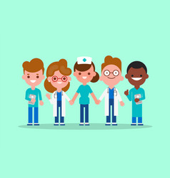 team doctors nurse and medical workers holding vector image