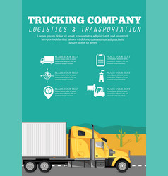 trucking company poster with container truck vector image