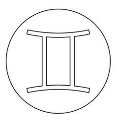 twin symbol icon black color in round circle vector image