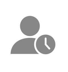 user profile with clock grey icon public vector image