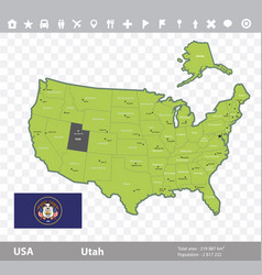 utah flag and map vector image