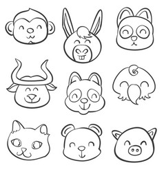 Various animal style hand draw doodles vector