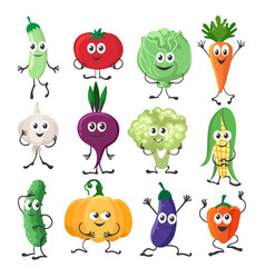 vegetables characters set vector image