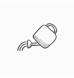 Watering can sketch icon vector image