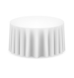 white round table with tablecloth on white vector image