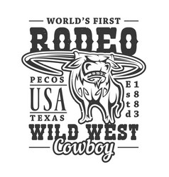 wild west western american rodeo bull vector image