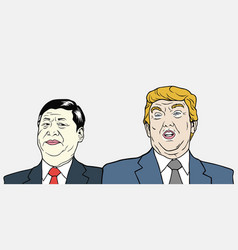 Xi jinping and donald trump vector