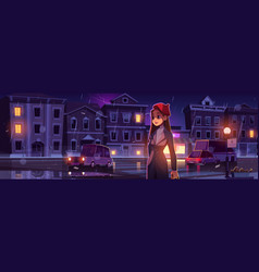 Young woman on night street at rainy weather vector