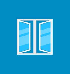 flat open plastic window icon on blue vector image