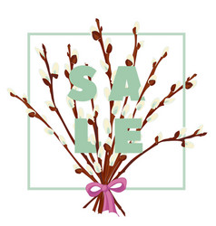 floral pussy willow hand drawn colored card vector image vector image