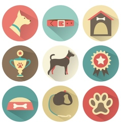 Retro dog icons set for web vector