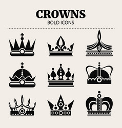 set of crowns flat bold vector image