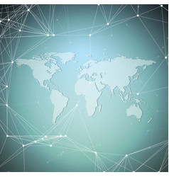 world map on blue background global network vector image