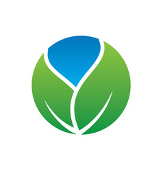 circle leaf eco nature logo vector image vector image