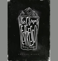 coffee glace cup chalk vector image vector image