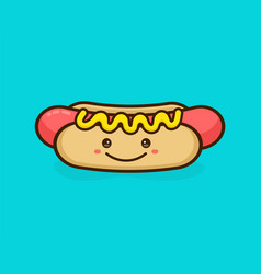 cute happy smiling tasty hot dog vector image vector image