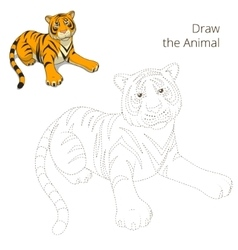 Draw the animal bull educational game vector image