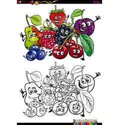 funny fruits coloring book vector image vector image