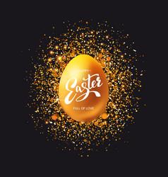 golden egg with glitter on black vector image vector image