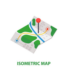 isometric delivery map with pin icon vector image