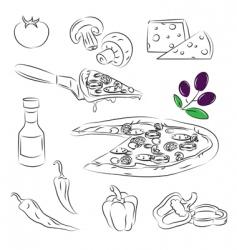 Pizza design elements vector image vector image