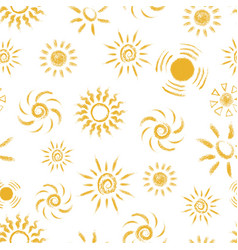 seamless pattern of hand drawn chalk suns vector image vector image