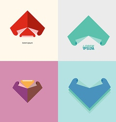 Set Abstract logo sheet of paper Technical drawing vector image vector image