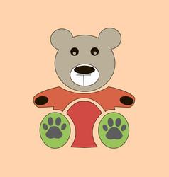 teddy bear icon flat design bear dollv vector image