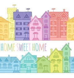 Seamless pattern of coloured houses drawn by hand vector image