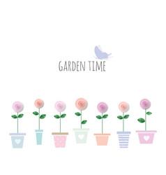 trendy print with garden flowers in pots cute vector image vector image