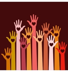 Volunteers colorful caring up hands hearts vector image