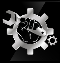 wrench in hand for repair vector image vector image
